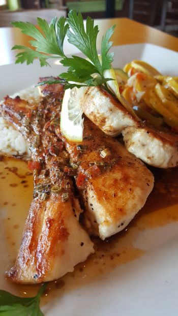 Rusty's Surf and Turf Restaurant on Hatteras Island, Pan Seared Wahoo