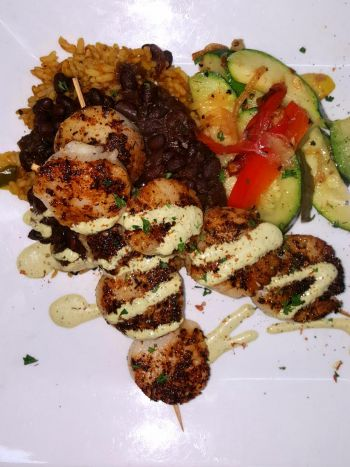 Rusty's Surf and Turf Restaurant on Hatteras Island, Scallops La Plancha
